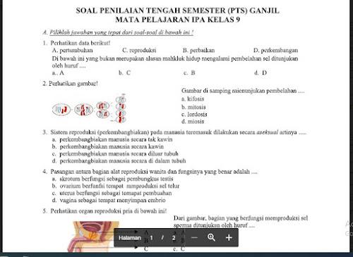 Soal UTS/PTS Ilmu Pengetahuan Alam (IPA) Kelas 9 Sem. Ganjil Kurikulum 2013