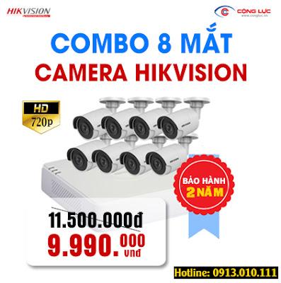 Trọn bộ 8 mắt camera Hikvision 1.0 megapixel