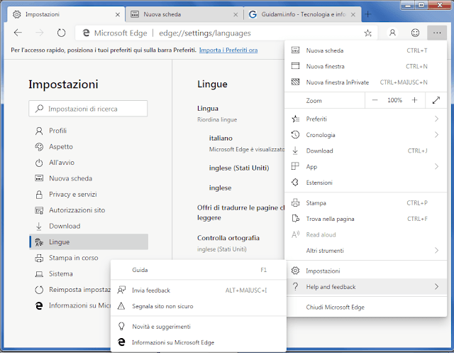Microsoft Edge Chromium menu e interfaccia in italiano