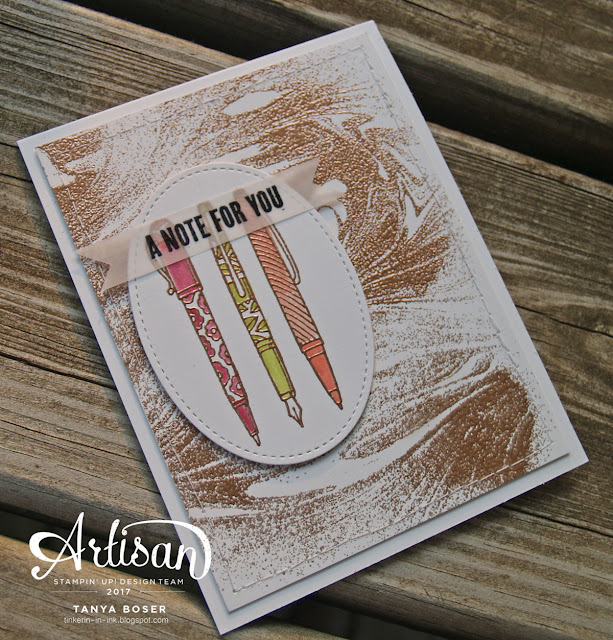 Crafting Forever and Marbled stamps sets from Stampin' Up! combined with Copper heat embossing create an elegant and modern feel to this card. Tanya Boser for the Stamp Review Crew