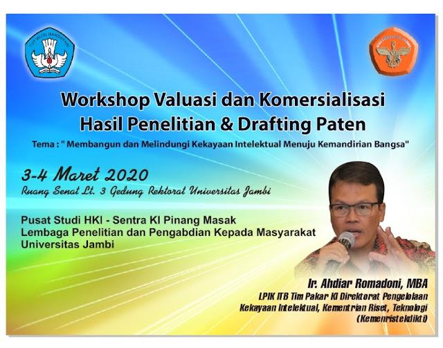 Workshop Valuasi dan Komersialisasi Hasil Penelitian dan Drafting Paten