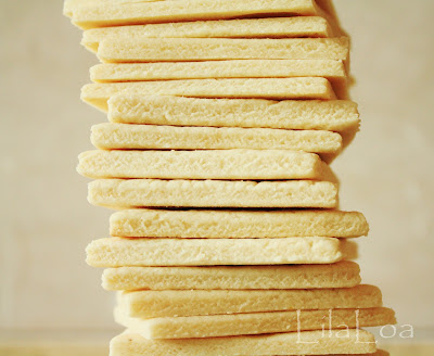 Stacked sugar cookies with crisp, sharp edges - ready to be decorated