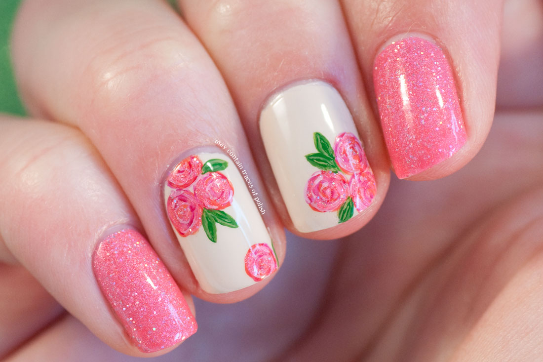 Pink Rose Nail Art with Glam Polish True Love's Kiss