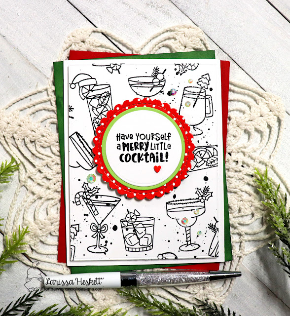 Merry Little Cocktail Card by Larissa Heskett | Christmas Cocktails Stamp Set and Circle Frames Die Set by Newton's Nook Designs