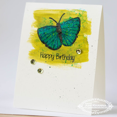 Mixed Media Card with Happy Little Stampers Butterfly Birthday Stamps