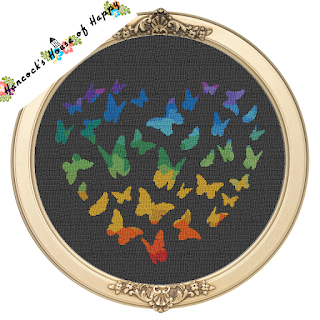 cloud of butterflies cross stitch pattern