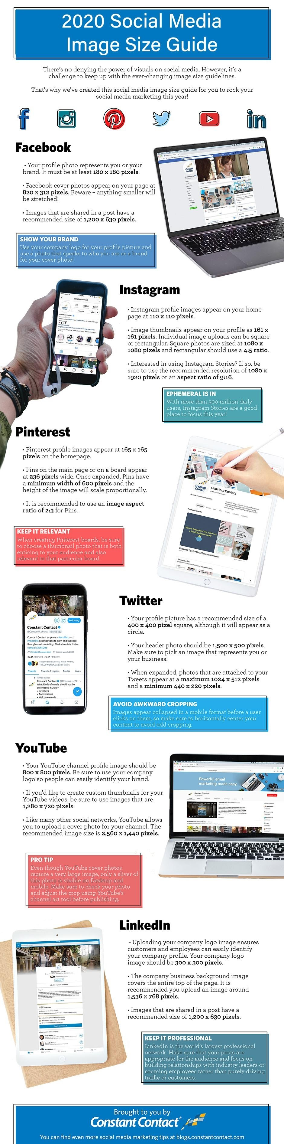Everything you need to learn about Image sizes in social media # infographic