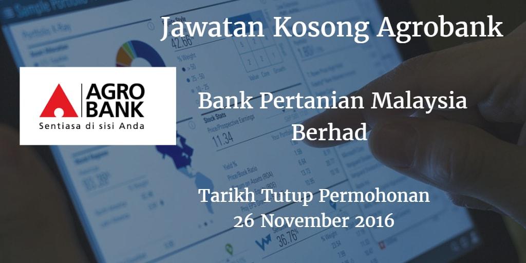 Jawatan Kosong Agrobank 26 November 2016