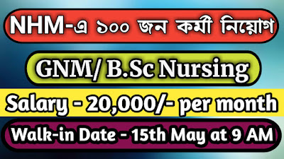 NHM Recruitment 2020—Walk-in-Interview for 100 Staff Nurse Posts