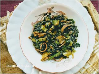 Lai Xaak aru Masor Petu Bhaji / Fish Intestine with Mustard Greens