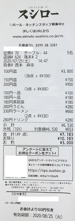 スシロー 石岡店 2020/7/25 飲食のレシート