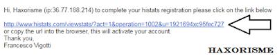 Verifikasi Email Pendaftaran Histats
