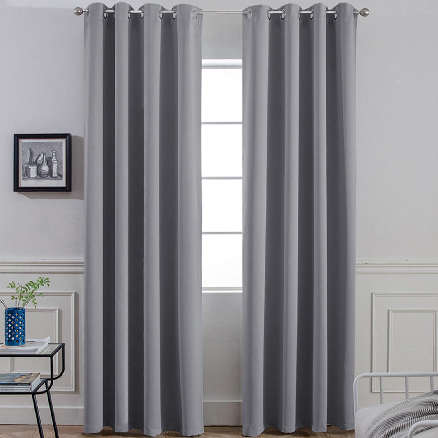 Yakamok Room Darkening Gray Blackout Curtains
