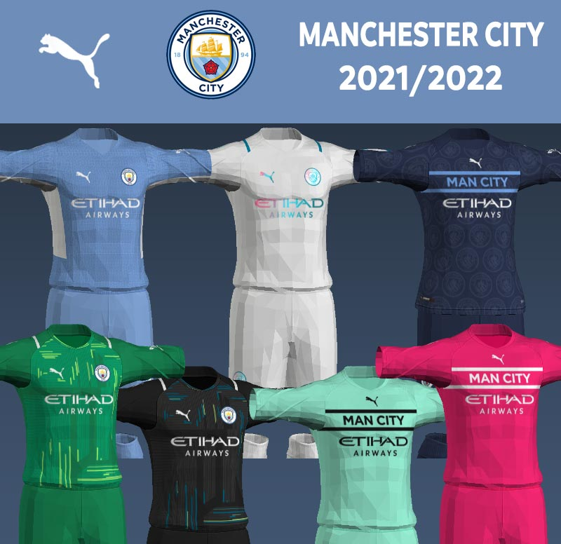 NEW Manchester City 2021-2022 Kits For PES 2013