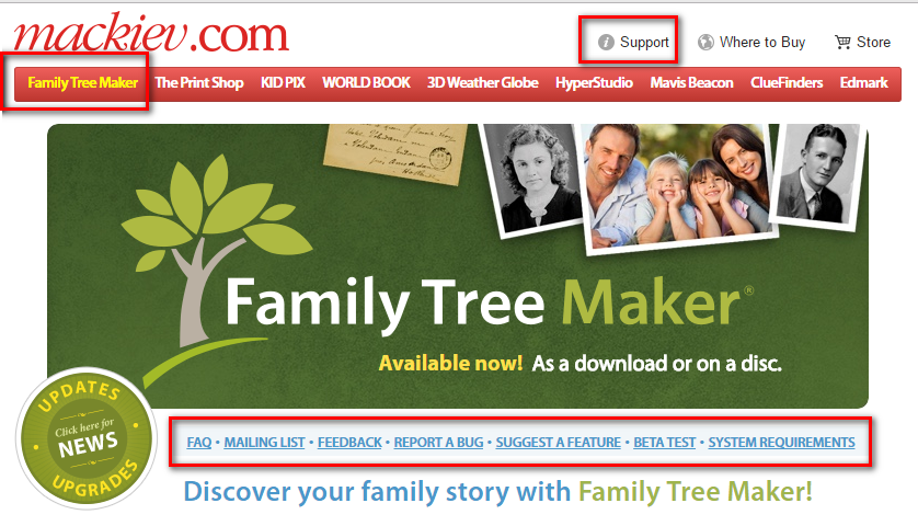 family tree maker support