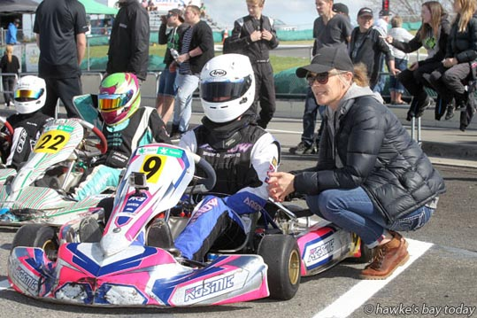 L-R: Billy Mori, rotax light class, Napier, Jacque Taylor, mother - 49th annual Blossom Meeting at Hawke's Bay Karting Club, Roy's Hill, SH50, Hastings. photograph