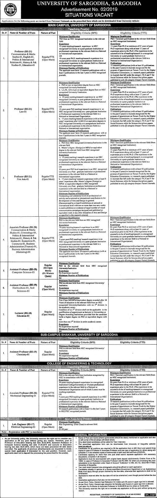 Jobs In University of Sargodha 19 Apr 2019