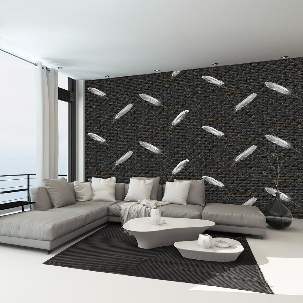 mẫu giấy dán tường lông chim 3D