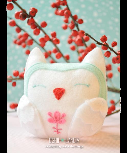 ushiilandia_winter felt owl_zimowa filcowa sówka