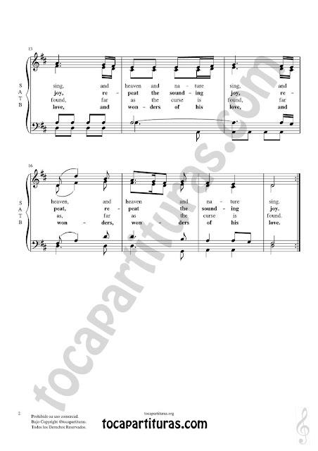 Partitura JPG gratis de Joy to the world Coro a cuatro voces SATB letra en inglés Choral SATB Sheet Music for 4 voice (soprano, alto, tenor, baritone) Al mundo paz
