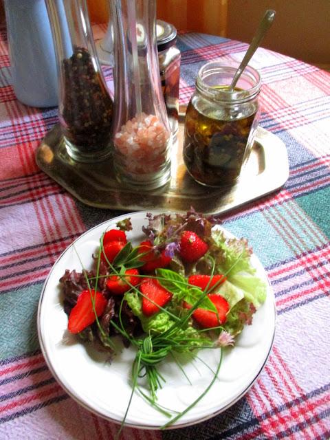 Epres tavaszi saláta illatos kerti fűszerekkel só és bors örlőa háttérben