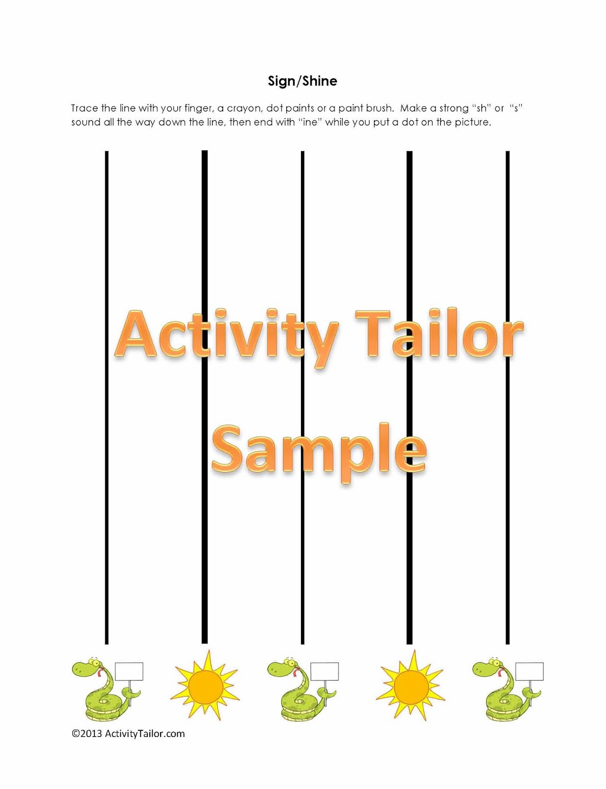Speechie Freebies Shine Sign Sliding Worksheet Freebie
