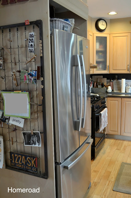 Side of refrigerator and crib frame