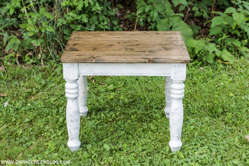 A Farmhouse style end table makeover | On The Creek Blog