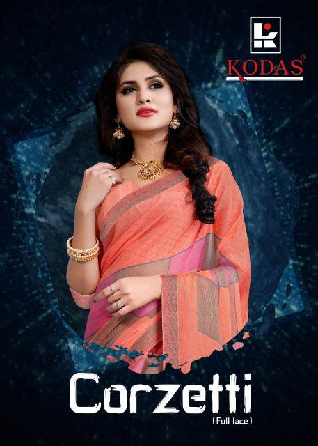 Kodas Corzetti  Chiffon printed daily wear Saree catalog wholesaler