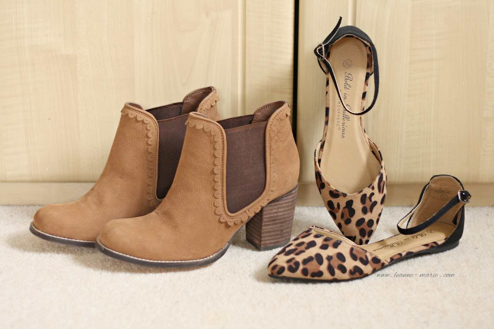 LEOPARD PRINT SHOES AND TAN BOOTS