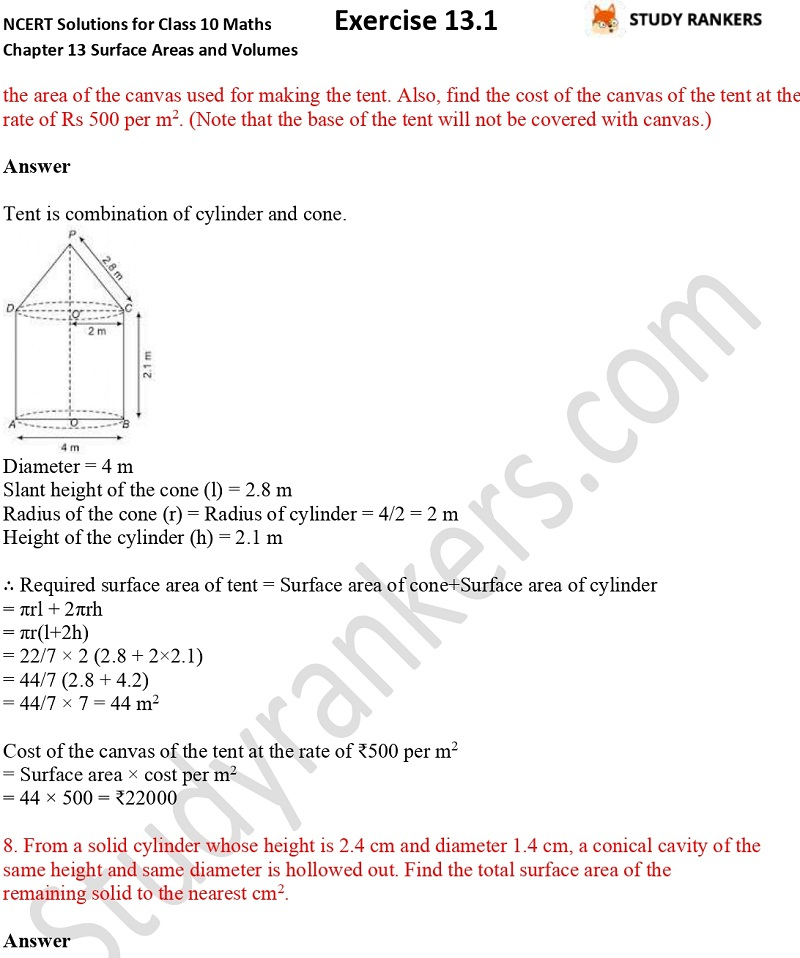 NCERT Solutions for Class 10 Maths Chapter 13 Surface Areas and Volumes Exercise 13.1 Part 5