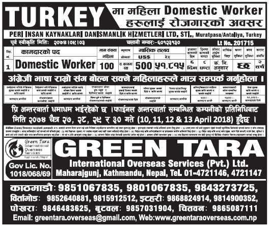 Jobs in Turkey for Nepali, Salary Rs 51,815