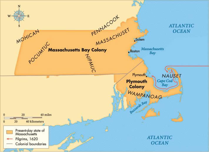 Massachusetts bay colony map