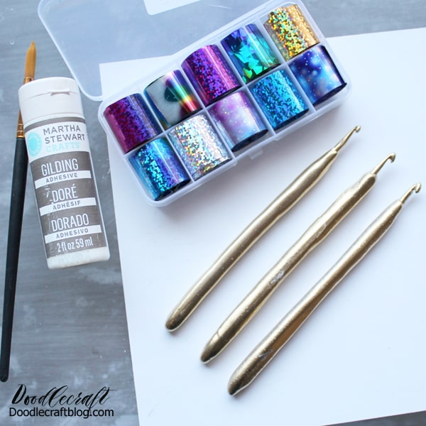 Add metallic leaf to metal crochet hooks