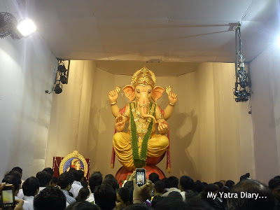 Deity of Lord ganesha at the Lalbaug sarvajanik utsav madal, Ganesh Galli Ganpati Pandal