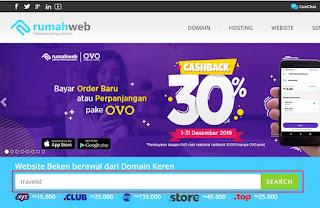 Tampilan homepage rumahweb.com