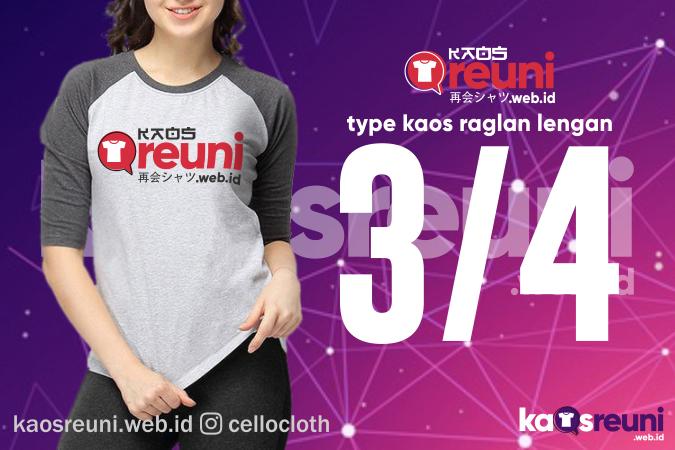 Type Kaos Raglan Lengan 34 Kombinasi 2 Warna - Sablon Desain Kaos Reuni Online