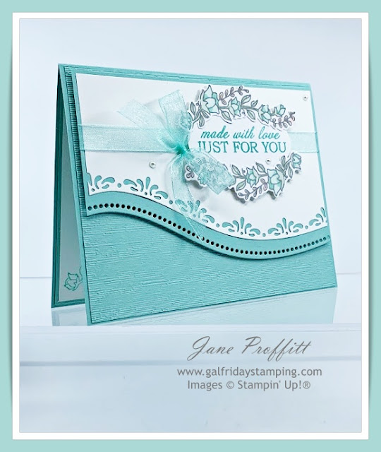 Quite Curvy card Created by Gal Friday Stamping.  Soft colors from products from Stampin' Up!