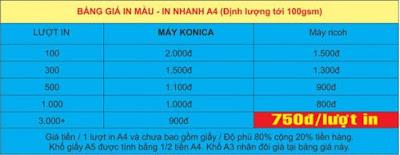 Bảng báo giá in decal giấy có định lượng dưới 100 gsm