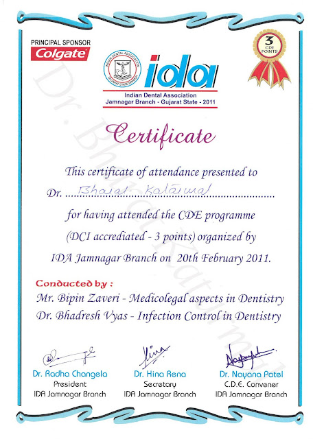 Medicolegal Aspects in dentistry in Jamnagar By Mr. Bipin Zaveri and Infection Control in Dentistry By Dr. Bhadresh Vyas