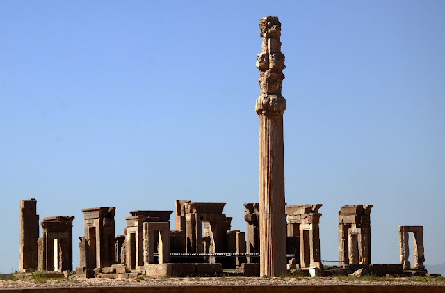 The columns and arcs in Persepolis. Shiraz, Iran