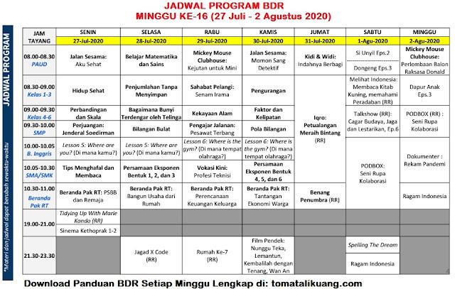 jadwal program belajar dari rumah tvri minggu ke 16 enambelas 27 28 29 30 31 juli 2020 - 1 2 agustus 2020 tomatalikuang.com