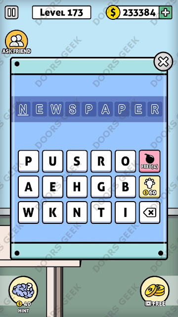 The answer for Escape Room: Mystery Word Level 173 is: NEWSPAPER