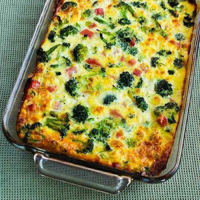 Broccoli, Ham, and Mozzarella baked with eggs found on KalynsKitchen.com