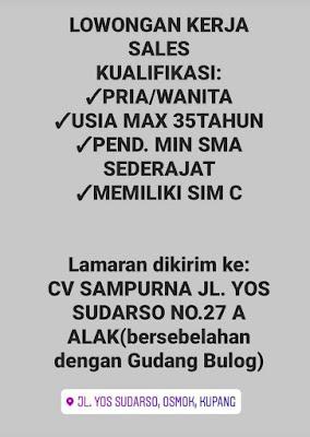 Loker Kupang CV SAMPURNA Sebagai Sales