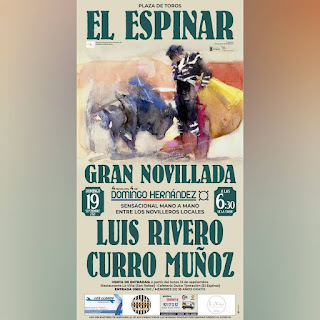Luis Rivero y Curro Muñoz, presente y futuro de la tauromaquia local. Será el domingo 19 de septiembre a las 6,30 horas en la Plaza de toros con un precio único de 10 euros.
