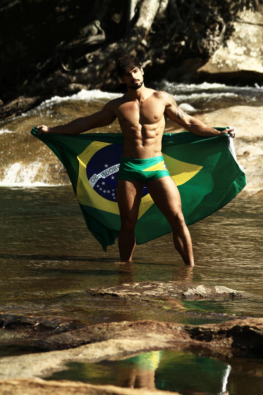 Junior Fernandes Shirtless with Brazilian Flag