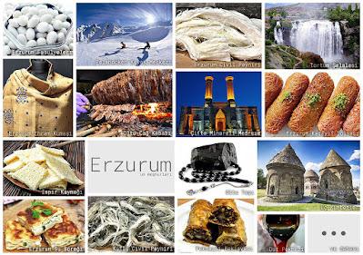 Erzurum'un meşhur şeylerini gösteren resimlerden oluşan kolaj