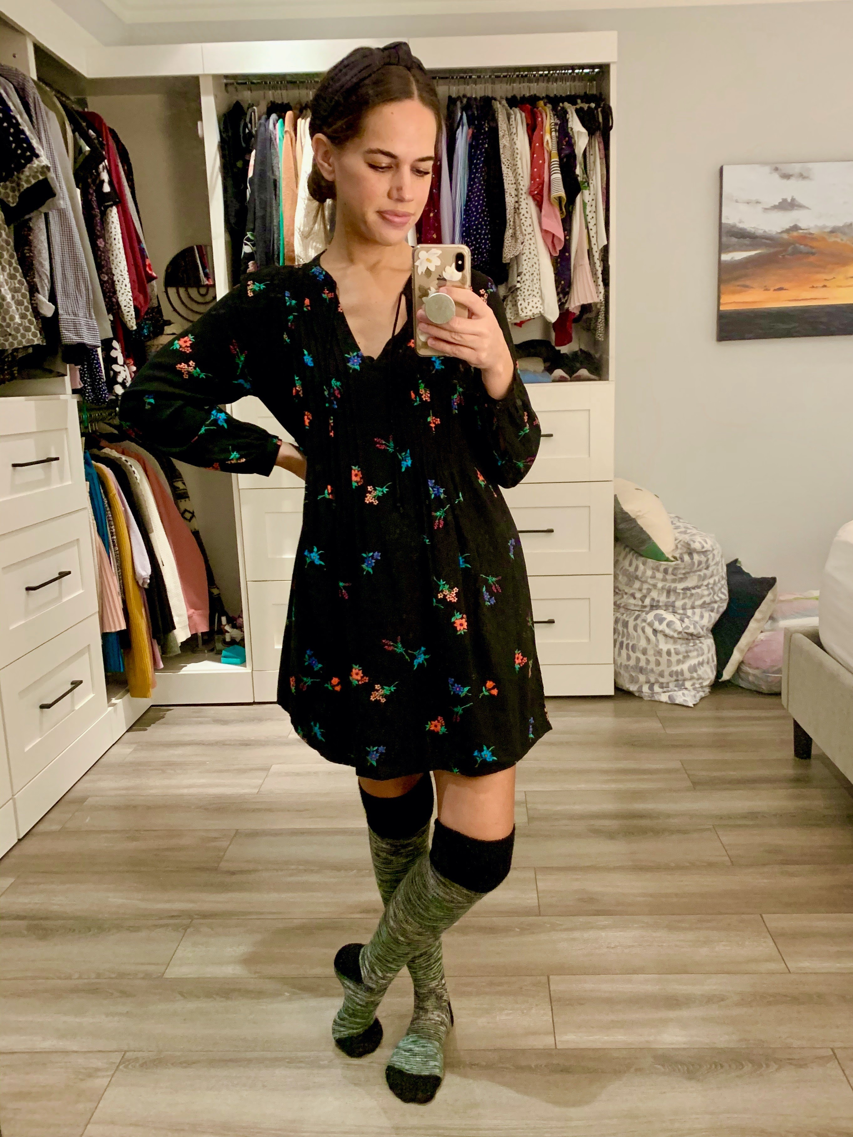 Jules in Flats - (WFH Outfit) Swing Dress with Knee High Socks (Business Casual Workwear on a Budget)
