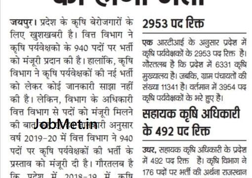 Rajasthan Agriculture Supervisor Bharti 2021